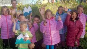 Jackets and shoes for children in Kyrgyzstan